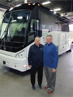 Tri-State Travel's Chairman Mike Hillard (left) and President Andrew Hillard take delivery of new a new MCI J3500 coach at the Des Plaines, IL MCI Service Center.