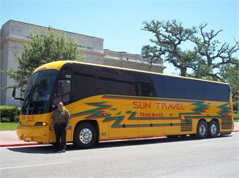 Beaumont, Texas' Sun Travel Trailways took delivery of its very first MCI J4500. Shown here is Michael LaBrie, founder and president of Sun Travel Trailways.