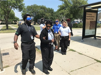 A portion of Milwaukee County Transit System's ADA Sensitivity Training includes a sight-guided exercise. Photo: MCTS