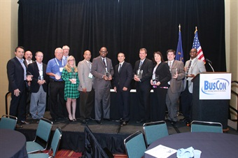 This year's 2015 PERC (left) and Innovative Solutions (right) winners with METRO Magazine GM James Blue (center).