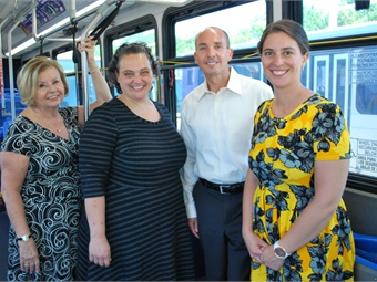 L to R: Roberta Yegidis, Center for Urban Transportation Research (CUTR); Kristi McLaughlin, Easterseals Project Action Consultant; David Green, former GRTC CEO; and Kelsey Calder, GRTC Travel Training Instructor.