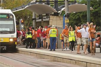 Dallas Area Rapid Transit created a list of lessons learned based on a previous experience with long train delays and overcrowding at a popular annual event. The agency altered its service to reduce congestion and added a direct shuttle service from a rail station near the event location.