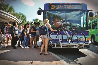 Gainesville (Fla.) RTS has provided bus service for the University of Florida since 1996. Students pay $7.88 per credit hour to ride the buses fare-free.  The university has been instrumental in helping the transit agency upgrade its buses and operations.