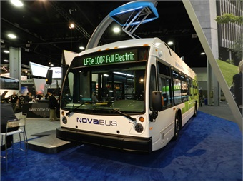 Nova Bus' 100% electric LFSe model, which is currently being operated by the city of Montreal, offers rapid and fully automatic charging.