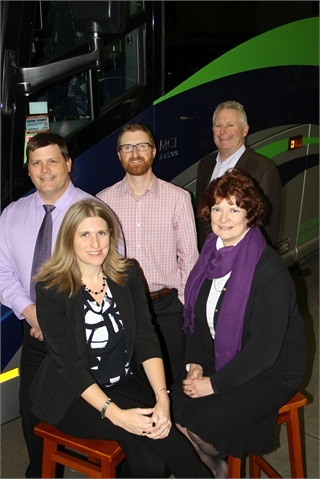 The Bast family has owned Go Riteway since 1957. Pictured (clockwise from back left) Safety Director David Butcher along with RJ, Ronald, Rochelle, and Wendy Bast.