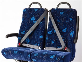 Freedman Seating's GO ES 6 bus seat has an integrated three-point external seatbelt, making the seats lightweight.