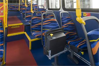 In response to the agency's issues with passengers needing a place to store such items as strollers and carts, American Seating's flip-up seat made its debut on Calif.-based Long Beach Transit's buses.