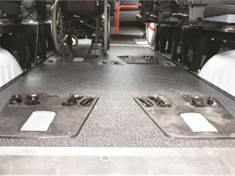 The Hideaway system features restraints that are fully-integrated into the floor, which frees up valuable floor space and increases passenger capacity.