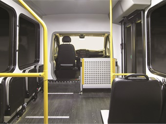New England Wheels' Frontrunner minibus features room for 15 passengers and up to three wheelchairs.
