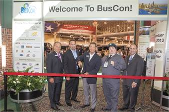 METRO's Frank Di Giacomo, Starcraft Bus President David Wright, Bobit Business Media President/CEO Ty Bobit, Ralph Kramden and METRO's Mark Hollenbeck (left to right) took part in the ribbon cutting.