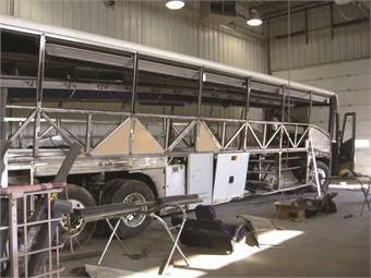 The Big Rig Collision Group offers extensive structural, mechanical and cosmetic services to its refurbishment customers at bus body shops located across the U.S. and Canada.
