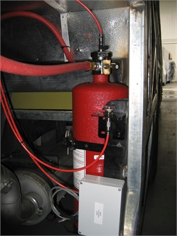 Firetrace systems uses a dry chemical agent to coat targeted areas.