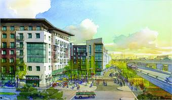 MacArthur Transit Village (rendering shown) is a proposed, mixed-use transit-oriented development located adjacent to the MacArthur BART Station in North Oakland, Calif. The U.S. Green Building Council selected the project to be part of its new LEED Neighborhood Development Pilot Program.(Photo courtesy MVE & Partners)