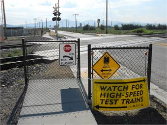 As part of the Front Lines program, the UTA installed new pedestrian safety treatments, which are offset pieces of fencing at every crossing on the new lines.