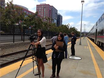 Working in teams, ten students each wrote, produced and edited a safety video for Caltrain.