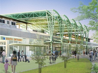 Rendering of the street level concourse area of the Berryessa BART Station.