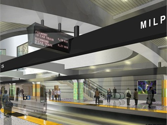 Interior rendering of the below-ground boarding area of the Milpitas BART Station.