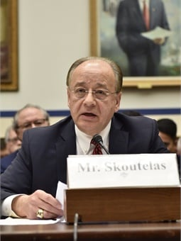Skoutelas testifying before Congress on the oversight of positive train control implementation in the U.S. APTA