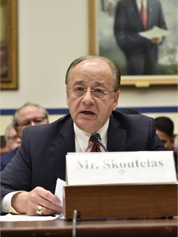 Skoutelas testifying before Congress on the oversight of positive train control implementation in the U.S.