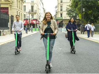 In suburban areas, expect repurposing of parking for bikes and scooters for short-distance needs, according to a new study. Photo: Taxify