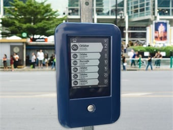Connexionz' E-Ink Real-Time arrival sign is solar-powered.
