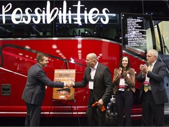On the show floor, ABC Companies celebrated the 10,000th Van Hool delivery in North America to DC Trails.