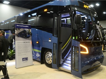 MCI showcased its new high-capacity MCI D45 CRT LE commuter coach with low-level-entry vestibule accessibility.
