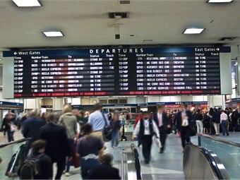 Via Amtrak Penn Station's iconic departure board was replaced by 40 LCD displays dispersed throughout the station.