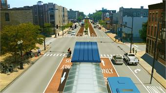 A rendering of the Western Ashland BRT. Photo courtesy Chicago Transit Authority.