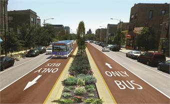 Chicago Transit Authority is planning to open a second BRT route next year. Rendering shown.