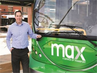 Kurt Ravenschlag, GM of Transfort, says that the new MAX BRT service, will operate with six North American Bus Industries vehicles.