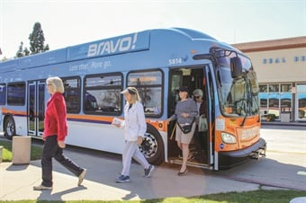 Bravo! Route 560, which runs along an 18-mile corridor, features five newly purchased CNG buses manufactured by New Flyer Industries. Photo: OCTA