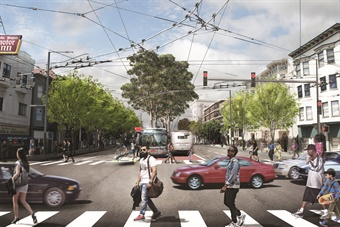 In March, the SFMTA broke ground on their Van Ness Bus Rapid Transit and Corridor Improvement Project (rendering). Photo: SFMTA