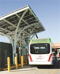 AC Transit uses solar panels to power its hydrogen fuel production process, further enhancing its sustainability efforts.