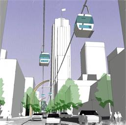 The proposed gondola system, patterned after other systems around the world, would travel a half mile and feature three stations, eight support columns and will be funded solely by private investment.