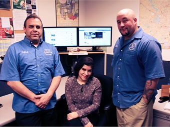 SEPTA introduced online customer service on Twitter in 2010. The agency's social media team includes (from L to R) Neftali Velez, Eileen Matos and Eric Negron.