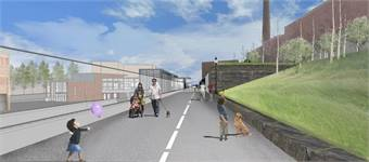 As part of the project the Commonwealth of Massachusetts is committed to designing a community path that runs alongside the GLX corridor (rendering shown).