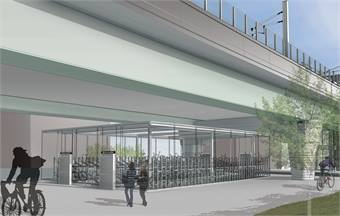 The Green Line Extension project will feature seven new stations, including the Lechmere Station (rendering shown).