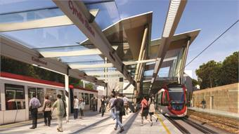 "Ottawa's planned light rail system is touted as the ""largest infrastructure project in the city's history."" The eight-mile starter line features a 1.5-mile downtown tunnel and 13 stations. (Conceptual drawing of Blair Station)"