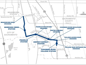 A map demonstrating the phase two alignment of Sacramento RT's Blue Line extension.