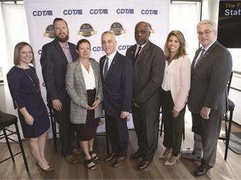 Stackrow (shown far right with CDTA's Carm Basile, center) is in his 24th year as a board member at the Capital District Transportation Authority in Albany, NY.