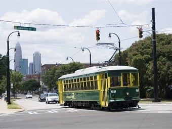 The CityLYNX Gold Line, launched July 2015, is the first 1.5-mile segment of a 10-mile streetcar system. Photo: CATS