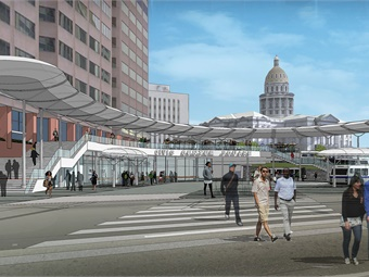 The $30 million-dollar Civic Center Station project (rendering shown), which broke ground last fall, features a welcoming and open design aesthetic.