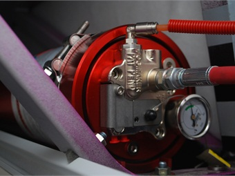 Fogmaker's Loss of Pressure fire suppression system uses high-pressure water mist technology. The discharged solution suppresses the fire by knocking out the oxygen in the environment and provides a cooling element as well.