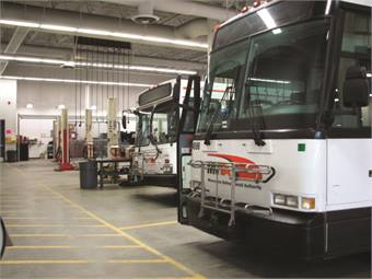 Agencies polled for this year's survey varied in fleet size, with the largest maintaining 990 buses and smallest 72. Photo Courtesy: MVTA