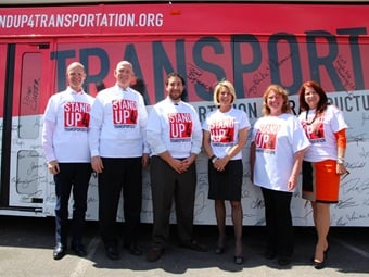 """The """"Stand Up 4 Transportation"""" event in Las Vegas included (from L to R) Global Economic Alliance President/CEO Tom Skanke, RTC Chairman Larry Brown, Legislative Director Mike Naft, RTC GM Tina Quigley, NDOT Deputy Director Tracy Larkin-Thomason, and City of Henderson Councilwoman Debra March."""