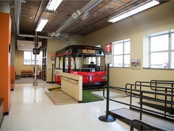 The highlight of St. Cloud's Mobility Training Center is the assessment course, which features a training bus and a variety of simulated surfaces to test a person's gait, balance and transition from surface to surface. All photos courtes HMA Architects