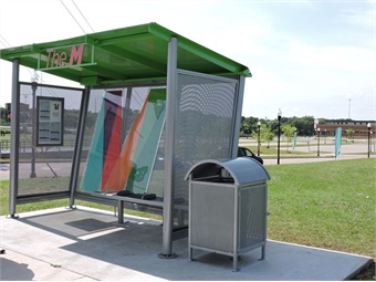 Transit agencies are often incorporating the branding of their system into the design of bus shelters to show both riders and non-riders what they're doing with their tax dollars.