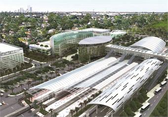 Aside from its bus fleet enhancements, Miami-Dade's rail service is getting a boost with the construction of the Metrorail AirportLink Project (rendering of completed project shown).
