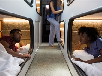 Cabin describes itself as a moving hotel, featuring private sleeping cabins that allow passengers to lie flat, while also offering onboard lounges with conventional seating.